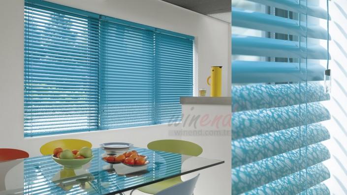 jaluzi ev mutfak modern mavi